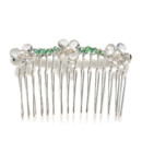 Amanda Rudey Flower Hair Comb ~ Three flowers made of little gemstones are woven across this hair comb. Available in white or gray pearl or any color gemstone you would like! Available in 18k vermeil, Sterling Silver or 14k Gold.