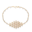 A delicate lattice of fine 18k vermeil chain and your choice of stone forms a gorgeous diamond shape on your wrist with stone detail all the way around. So perfectly elegant. Lobster clasp closure. Adjustable 7-8 inches. Handmade with lots of love in the USA. Don't see the perfect color for you? Email us and we will find it for you!