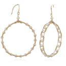 Amanda Rudey Circus Hoop Earrings ~ Tiny pearls are delicately woven between two gold wires. Available in white or gray pearl or any color gemstone you would like! Available in 18k vermeil, Sterling Silver or 14k Gold. 1.5 inches.