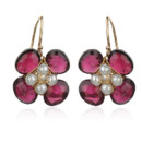 Amanda Rudey Flower Earrings ~ Tiny pearls nested among four colored gemstones. Available in any color gemstone you would like! Available in 18k vermeil, Sterling Silver or 14k Gold. .75 inches.