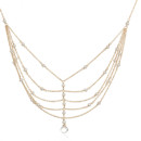 Amanda Rudey Ladder Necklace ~ Tiny stones are interspersed throughout delicate chains which are layered to create a ladder. Available in white or gray pearl or any color gemstone you would like! Available in 18k vermeil, Sterling Silver or 14k Gold. Adjustable 16-18 inches.