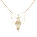 A delicate lattice of fine 18k vermeil chain and your choice of stone forms a gorgeous diamond shape with fine chains fanning out. A delicate but bold statement. Lobster clasp closure. Adjustable 16-18 inches. Handmade with lots of love in the USA.