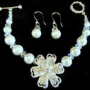 Elegant crystal and pearl flower bracelet.