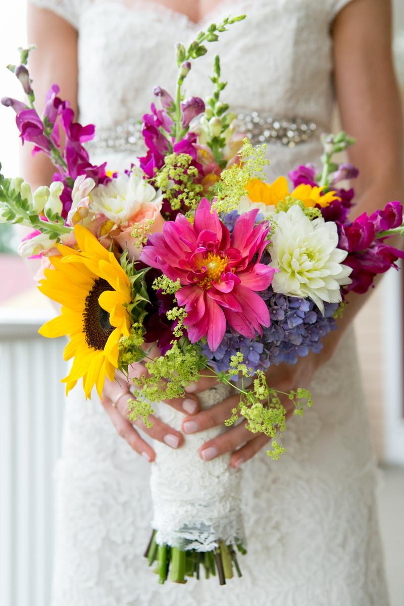 Wedding Flowers In Virginia : Rustic multicolor bouquet dahlia summer sunflower virginia