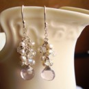 Wire Wrapped Pink Amethyst Briolette Dangle with White Pearl and Crystal Rondelle Cluster Sterling Silver Earrings