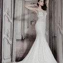 Style 32848178  This mermaid gown features a sweetheart neckline with a natural waist in lace. It has a chapel train and spaghetti straps. This gown is Exclusive to Kleinfeld Bridal.