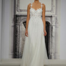 Style 32813636  This sheath gown features a sweetheart neckline with a natural waist in tulle and beaded embroidery. It has a sweep train and spaghetti straps. This gown is Exclusive to Kleinfeld Bridal.