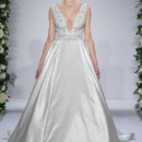 Style 14034  Ivory beaded and embroidered bodice with plunging v-neck on satin ball gown skirt, low v back