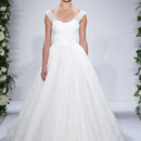 Style 14030  Ivory off the shoulder silk Chantilly lace ball gown with criss cross lace straps
