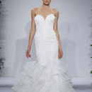 Style 14036  Ivory strapless beaded sweetheart fit and flare gown with tiered organza skirt