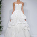 Style Duchess  Ivory beaded and embroidered strapless princess ball gown with silk gazar tiered asymmetrical loose ruffle