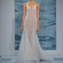 Style 121  White over nude crystal stoned illusion flared gown