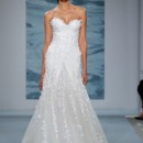 Style 115  White three dimensional lace with dimensional lace flounce