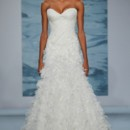 Style 118  Strapless bias draped organza gown with dimensional organza floral flounce