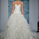 Style 102  Strapless silk organza ball gown with a bias swirled skirt