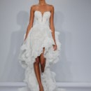 Style 4354 Strapless sweetheart chantilly lace sheath with slit and detachable train