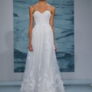 Style 127  Off-white strapless gown with leaf applique illusion overlay and nude illusion back