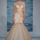 Style 120  Dark nude over crème draped gown with full gathered flounce