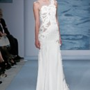 Style 105  Illusion and crepe gown with embroidered swirl motifs
