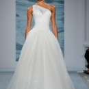 Style 108  One-shouldered ball gown of illusion over sequined net with draped bodice and beaded motifs