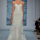 Style 131  Strapless silver beaded illusion net over pale champagne crepe gown with chiffon gathered flounce