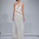 Style Pnina Tornai 4364  Asymmetrical one shoulder silk chiffon sheath with chantilly lace cut outs and low back