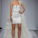 Style Pnina Tornai 4357  One shoulder silk satin mini with beaded and embroidered appliques and detachable organza train
