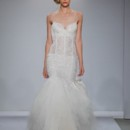 Style Pnina Tornai 4347  Spaghetti strap dropped waist gown with chantilly lace pearlized crystal beaded and embroidered appliques and tiered tulle skirt with removable bow at train