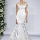 Style 14039  Ivory satin dropped waist fit and flare gown with beaded and embroidered bateau neckline and hem, crystal buttons on back