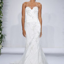 Style 14041  Ivory strapless sweetheart a-line gown with pearl and floral beading on embroidered overlay