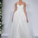 Style 14044  Ivory strapless beaded and embroidered tulle sheath gown with removable tulle lined poof skirt, lace scallop edge detail at hem