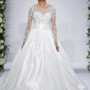 Style 14033  Ivory beaded and embroidered long sleeve illusion ball gown with cummberband at natural waist