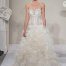 Style 32614232  This a-line gown features a sweetheart neckline with a dropped waist in silk organza and beaded embroidery. It has a cathedral train. This gown is Exclusive to Kleinfeld Bridal.