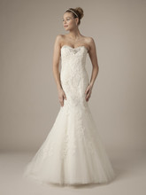 Style 32562399  This mermaid gown features a sweetheart neckline with in alencon lace and beaded embroidery. It has a chapel train. This gown is Exclusive to Kleinfeld Bridal.