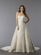 Style 32797524  This a-line gown features a sweetheart neckline with in lace. It has a chapel train. This gown is Exclusive to Kleinfeld Bridal.