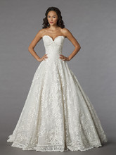 Style 32851685  This ball gown features a sweetheart neckline with a natural waist in lace and tulle. It has a chapel train. This gown is Exclusive to Kleinfeld Bridal.