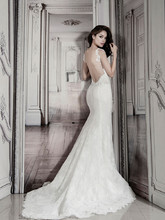 Style 32848160 This sheath gown features a sweetheart neckline with a natural waist in lace. It has a chapel train. This gown is Exclusive to Kleinfeld Bridal.