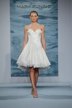 Style 122  Short crystal beaded bodice with organza layered party skirt