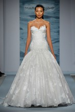 Style 126  Strapless silk jacquard organza with gathered flounce and floral applique