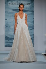 Style 132  White beaded net over nude deep V-necked gown with illusion ball skirt