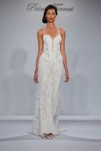 Style Pnina Tornai 4348  Strapless sweetheart Alecon lace sheath with detachable long sleeve bolero
