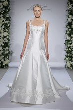 Style 14032  Ivory Tip of the shoulder dropped waist Duchess Satin a-line with beaded embroidery on bust and skirt