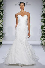 Style 14047  Ivory strapless embroidered fit and flare organza gown with tiered train