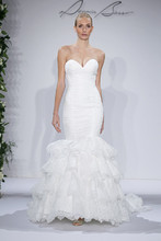 Style 14043  Ivory strapless sweetheart Chantilly lace mermaid with teired skirt