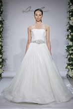 Style 14046  Ivory strapless organza ball gown with pleated bodice and beading and embroidery at natural waist