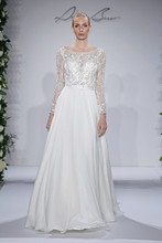 Style 14040  Ivory beaded and embroidered long sleeve illusion, belted at natural with chiffon a-line skirt