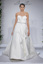 Style 14035  Ivory strapless ruched bodice with beading and belted waist, satin ball gown with cascading ruffle accent 2015_Basso_182.jpg