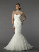 Dennis Basso 14037   This mermaid gown features a sweetheart neckline with a natural waist in organza. It has a chapel train.