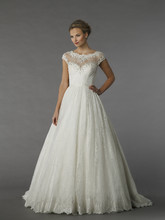 MZ2 74551  This a-line gown features an illusion neckline with a natural waist in chiffon and lace. It has a sweep train and cap sleeves.