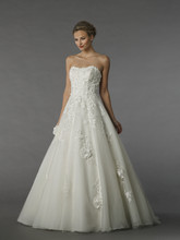 MZ2 74552  This a-line gown features a sweetheart neckline with a natural waist in chiffon. It has a sweep train.